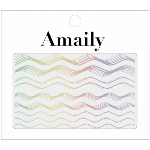 Amaily Japanese Nail Art Sticker / Holographic Wave