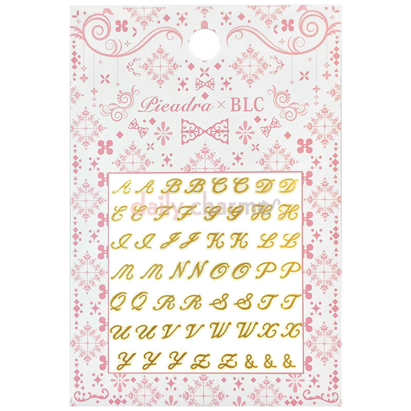 Daily Charme Japanese Nail Art Supply PIEADRA X BLC Japanese Nail Art Sticker / Large Brooch Initial / Gold