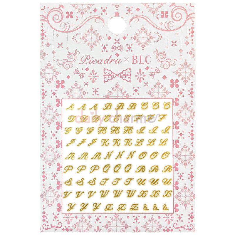 Daily Charme Japanese Nail Art Supply PIEADRA X BLC Japanese Nail Art Sticker / Small Brooch Initial / Gold