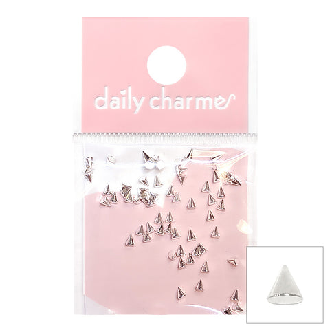 Daily Charme Nail Art Supply Small Silver Spike Studs for Punk Nail Art
