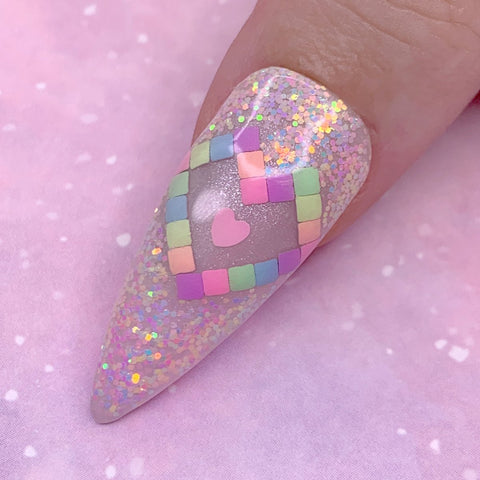 Daily Charme Nail Art Decoration Pastel Rainbow 2mm Square Studs