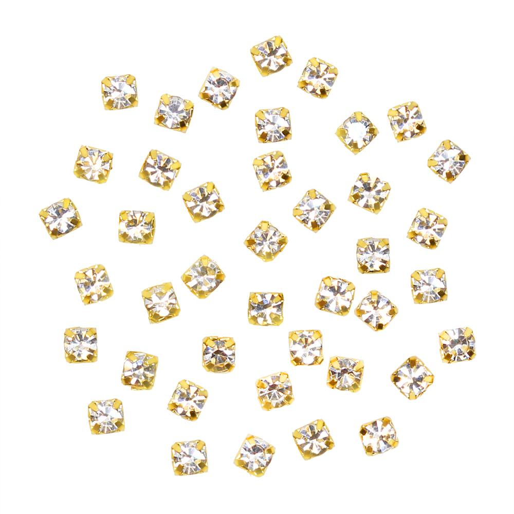 Rhinestone Diamond Gold Cups / Clear / 2MM 3MM Nail Art Embellishment