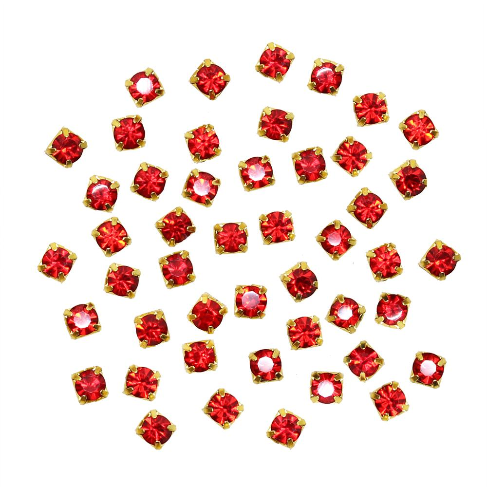 Rhinestone Diamond Gold Cups / Red / 2MM 3MM Nail Art Gems