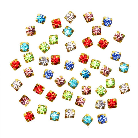 Colorful Rhinestone Diamond Gold Cups / Mix / 2MM 3MM Nail Art Gems