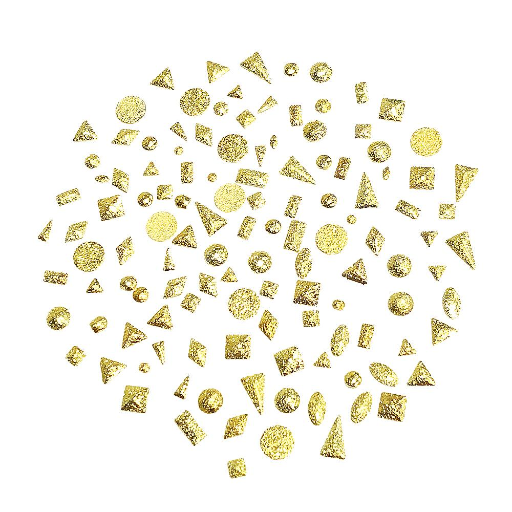 Nail Art Supply 3D - Textured Metallic Matte Studs Mix / Gold