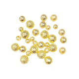 Nail Art Textured Matte Metallic Round Beads No-Holes / Gold