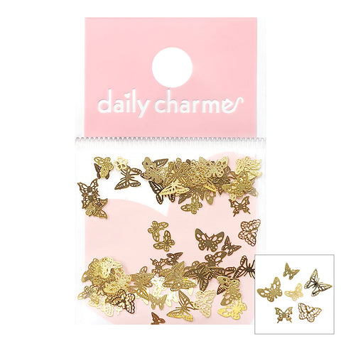 Metallic Thin Slice Gold Delicate Butterfly Nail Stud for Spring Nails
