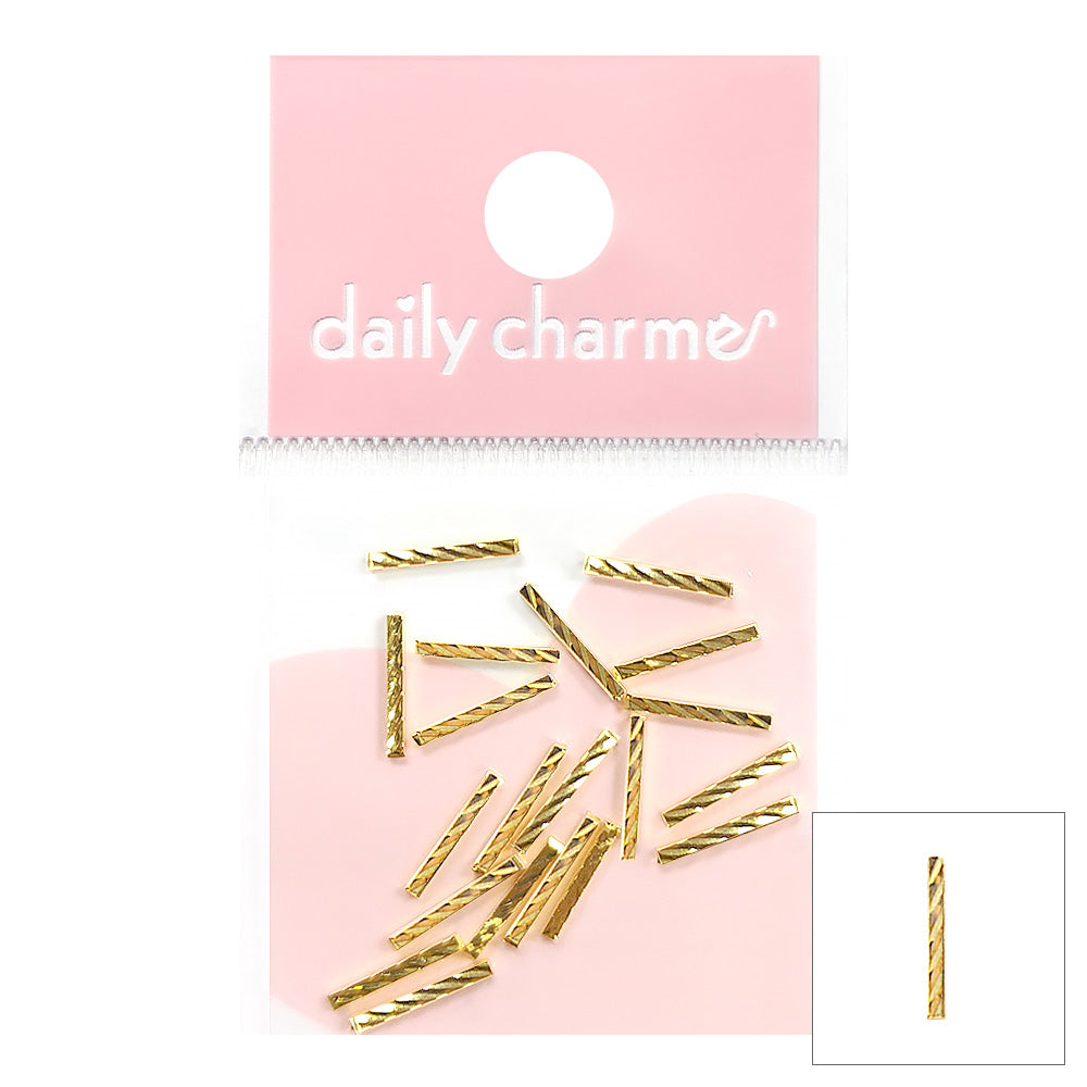 Metallic Gold Nail Art Long Twist Texture Square Bar Stud Japanese Nail