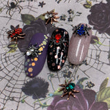 Dazzling Spider Nail Charm Jewelry Gunmetal Halloween Red Blue