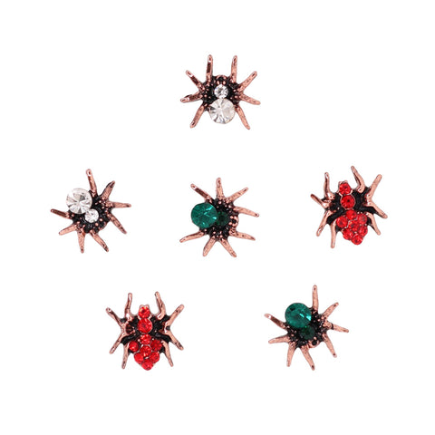 Dazzling Spider Gem Nail Charm Red Green Clear Rose Gold Halloween