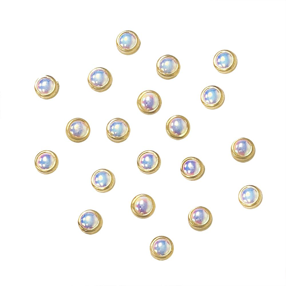 Gold Framed Pearl / AB / 4MM / 5MM / 6MM Nail Art Decors