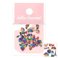 Daily Charme Valentine Soft Paper Glitter / Rainbow Roses Vday Nails