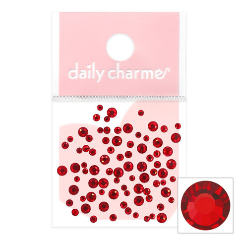 Charme Crystal Round Flatback Light Siam Red Nail Art Decor