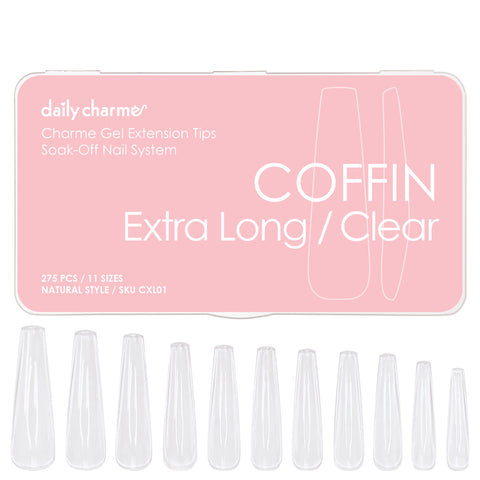 Charme Gel Extension Tips / Coffin Ballerina Extra Long / Clear Gel Nail