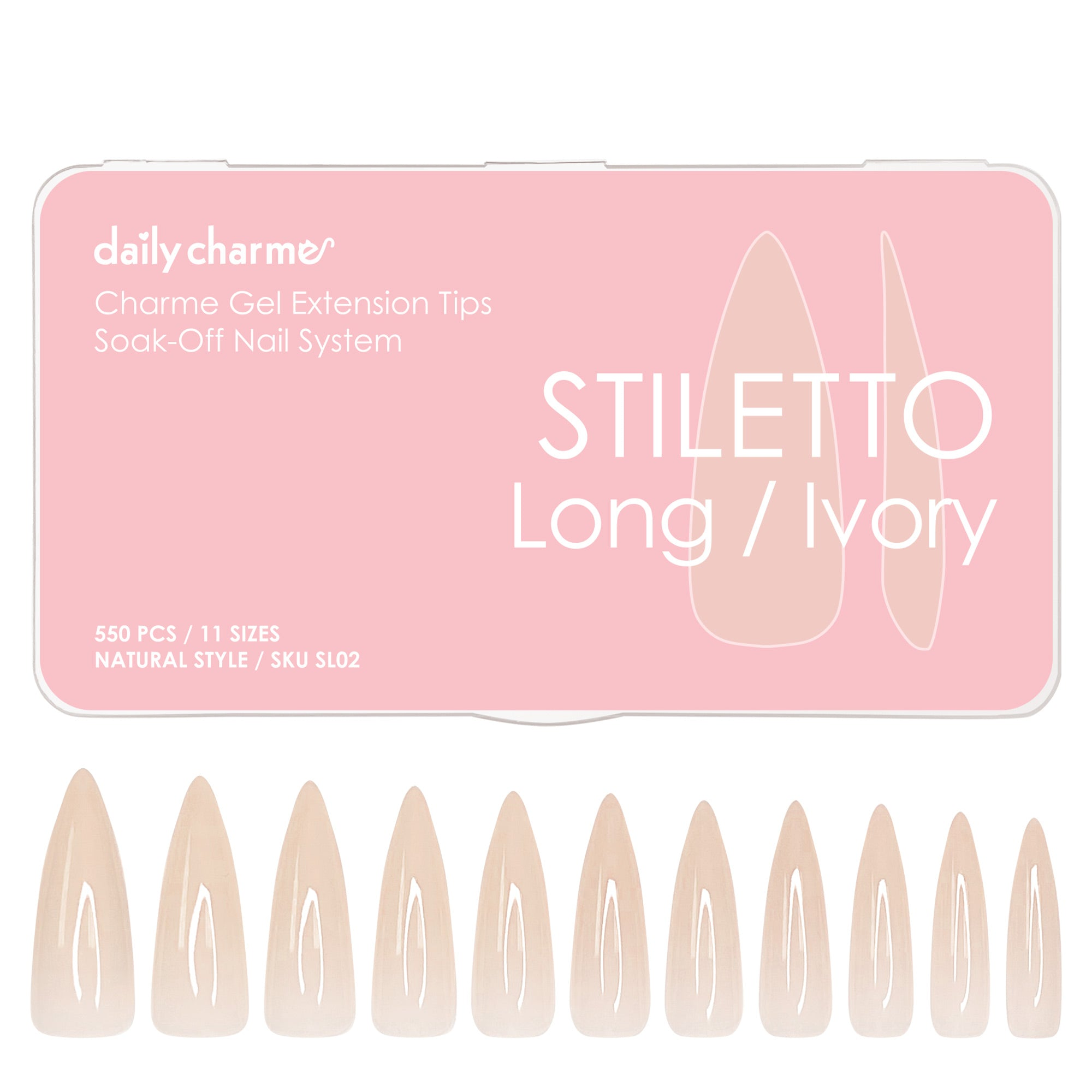 Charme Gel Extension Tips / Stiletto / Long / Ivory Beige Nail Chips