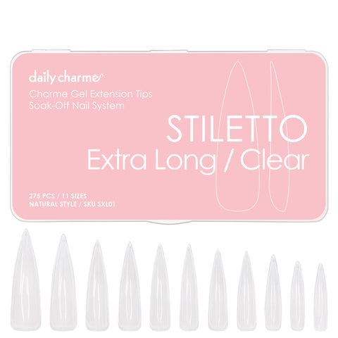 Charme Gel Extension Tips / Stiletto / Extra Long / Clear Gel X Nail