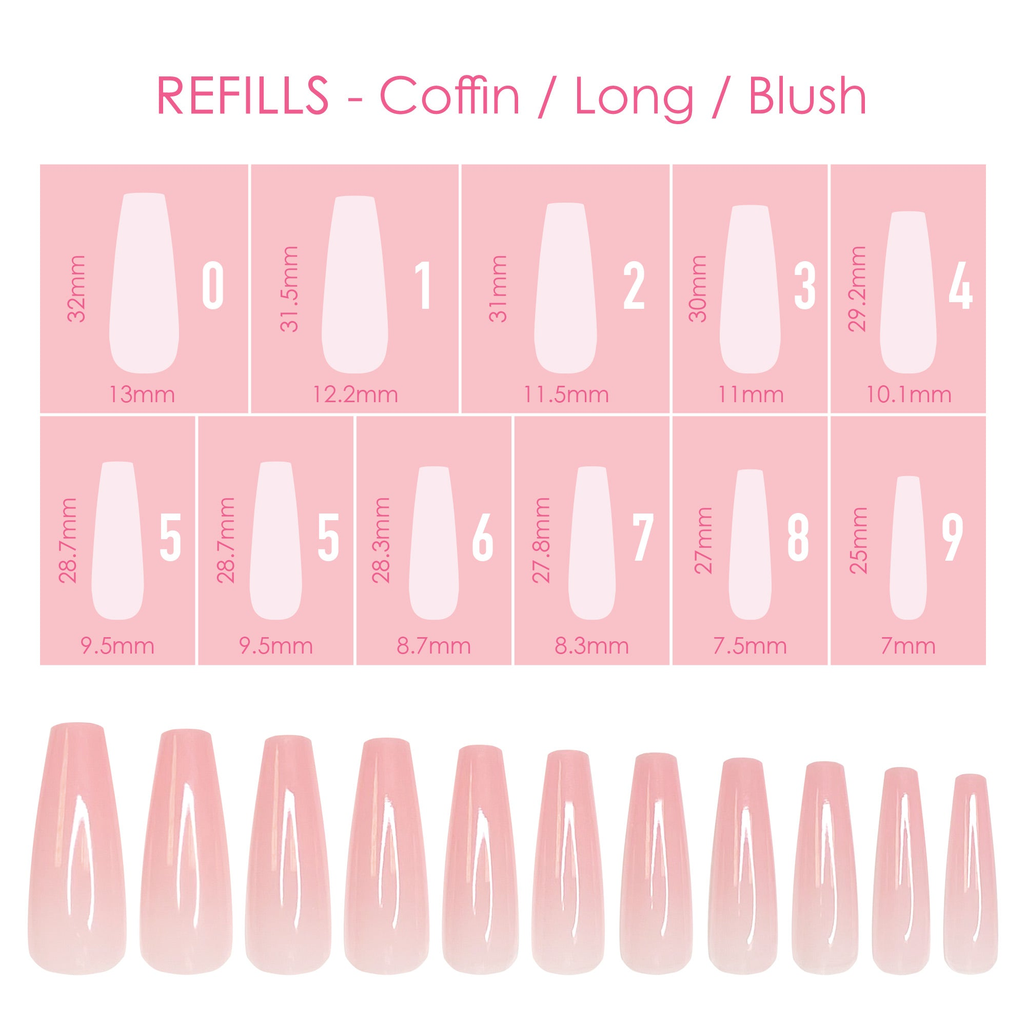 Charme Gel Extension Tips Refill / Coffin / Long / Blush