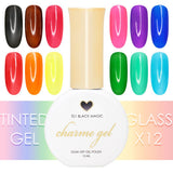 Charme Gel Tinted Glass Collection / 12 Colors Black Brown Red Orange Yellow Pink Green Purple Blue