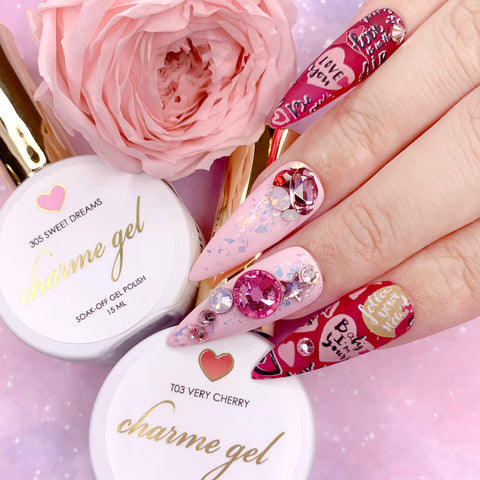 Charme Gel Polish / 305 Sweet Dreams Pastel Baby Pink Nails