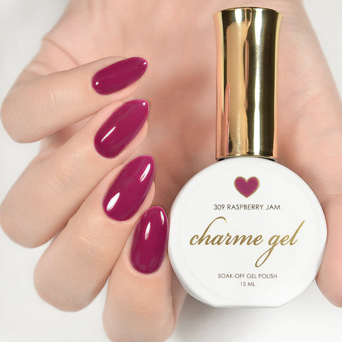 Charme Gel Polish / 309 Raspberry Jam Ruby Maroon Red