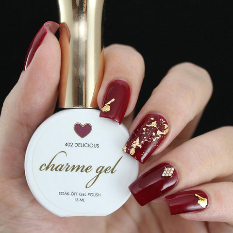 Charme Gel Polish / 402 Delicious Dark Burgundy Red Wine