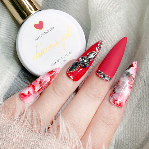Charme Gel Polish / 404 Cherry Lips Cool Red Nails
