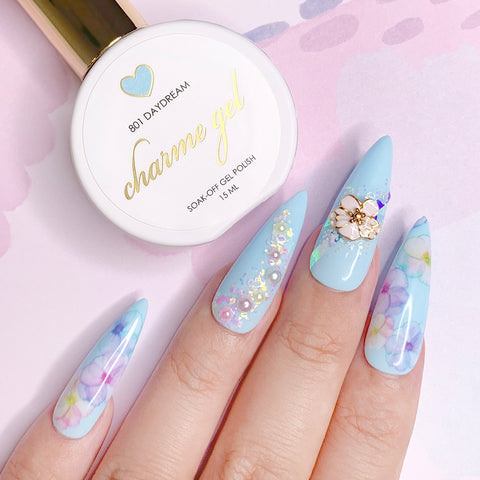Charme Gel Polish / 801 Daydream Pastel Blue Nails