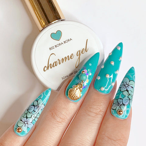 Charme Gel Polish / 802 Bora Bora Turquoise Nails
