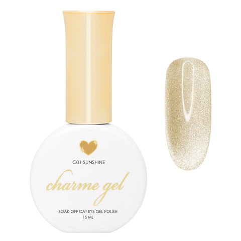 Charme Gel / Cat Eye Gel C01 Sunshine Gold Shimmer Glitter Galaxy Nail