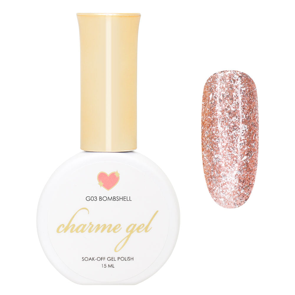 Charme Gel / Glitter G03 Bombshell Pink Rose Gold Gel Nail Bottle Color