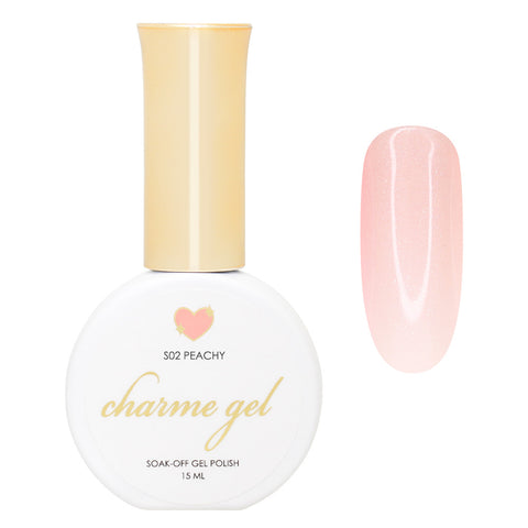 Charme Gel Shimmer S02 Peachy Orange Nude Beige Jelly Polish