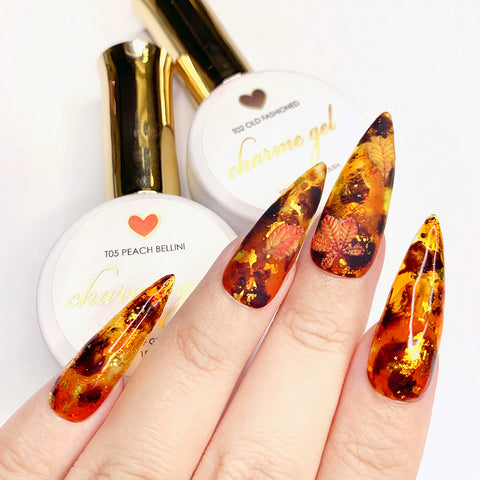 Charme Gel / Tinted Glass T02 Old Fashioned Sheer Transparent Brown Amber Tortoiseshell Nail Art