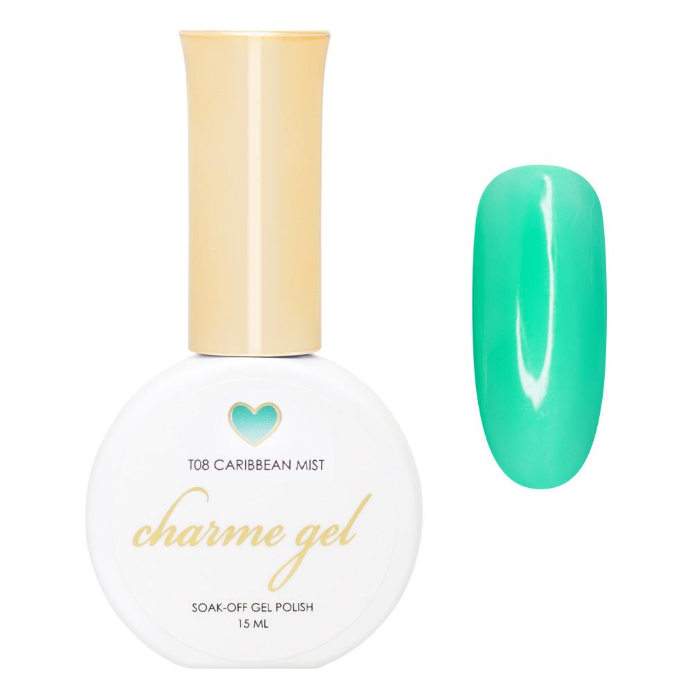 Charme Gel / Tinted Glass T08 Caribbean Mist Transparent Turquoise Teal Jelly Polish