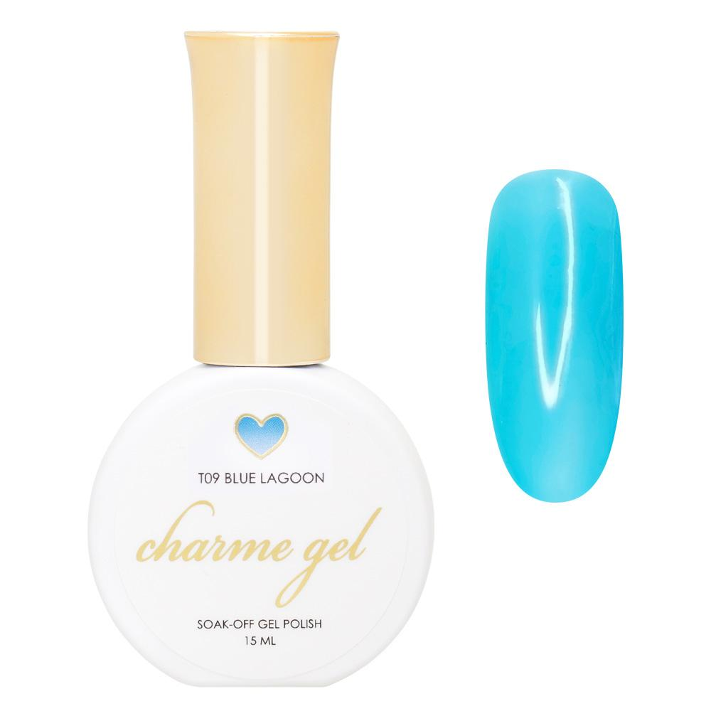 Charme Gel / Tinted Glass T09 Blue Lagoon Transparent Jelly Cyan Blue Polish