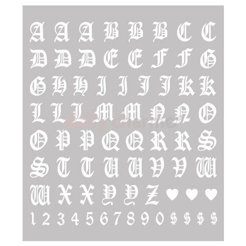 Daily Charme Clou Japanese Nail Art Sticker / Old English Letters / White