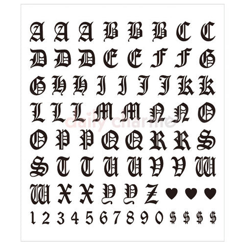 Daily Charme Clou Japanese Nail Art Sticker / Old English Letters / Black