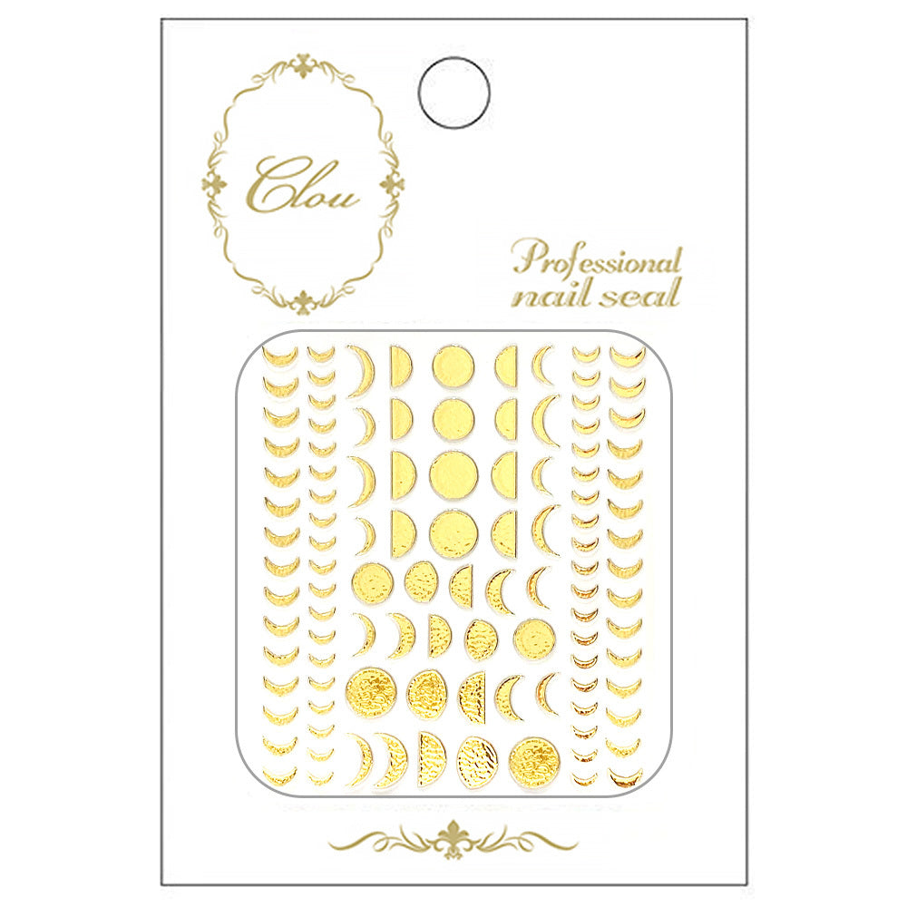 Clou Japanese Nail Art Sticker / Gold Foil Moon Phases Moon Nails