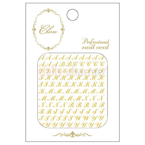 Daily Charme Clou Japanese Nail Art Sticker / Alphabet Cursive / Gold Foil
