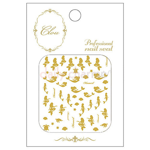 Daily Charme Clou Japanese Nail Art Sticker / Mermaid / Gold Foil