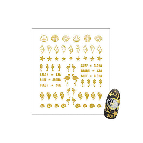 Daily Charme Clou Japanese Nail Art Sticker / Happy Beach / Gold Foil