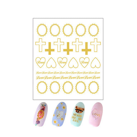 Daily Charme Clou Japanese Nail Art Sticker / Cross Mix 2 / Gold Foil