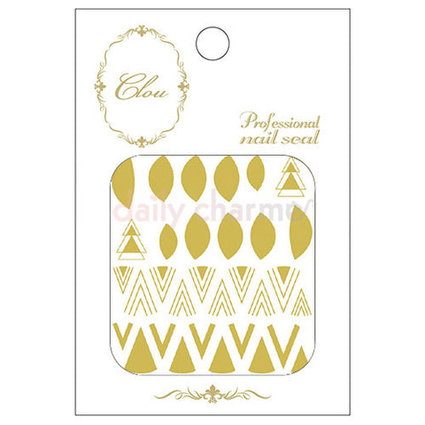 Daily Charme Clou Japanese Nail Art Sticker / Halfmoon & Chevron / Gold Foil