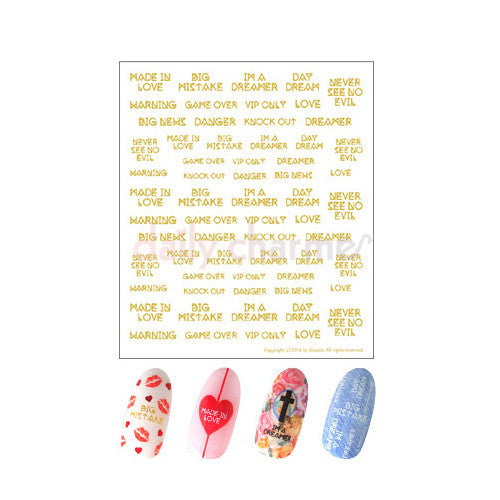 Daily Charme Clou Japanese Nail Art Sticker / Love ID II / Gold Foil