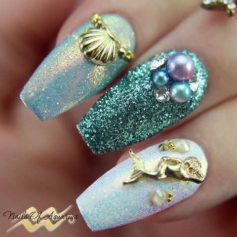 Clou Mermaid Shell Charm / Gold Summer Nail Japanese Decoration
