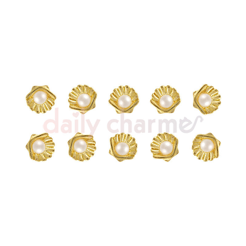 Daily Charme Japanese Nail Art Supply Clou Pearl & Shell / Gold Charms