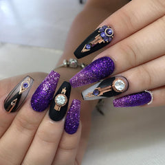 Vintage Round Crystal Gem / Rose Gold Nail Art Jewelry