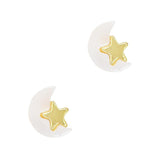 Daily Charme Ivory Moon & Star Gold Ivory Charms Kawaii Nature Shape Reusable curved natural shape nails dreamy delightful polished shiny sweet dream restful sleep