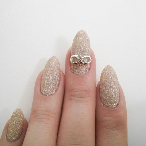 Nail Art Decoration - Infinity Bow / Silver