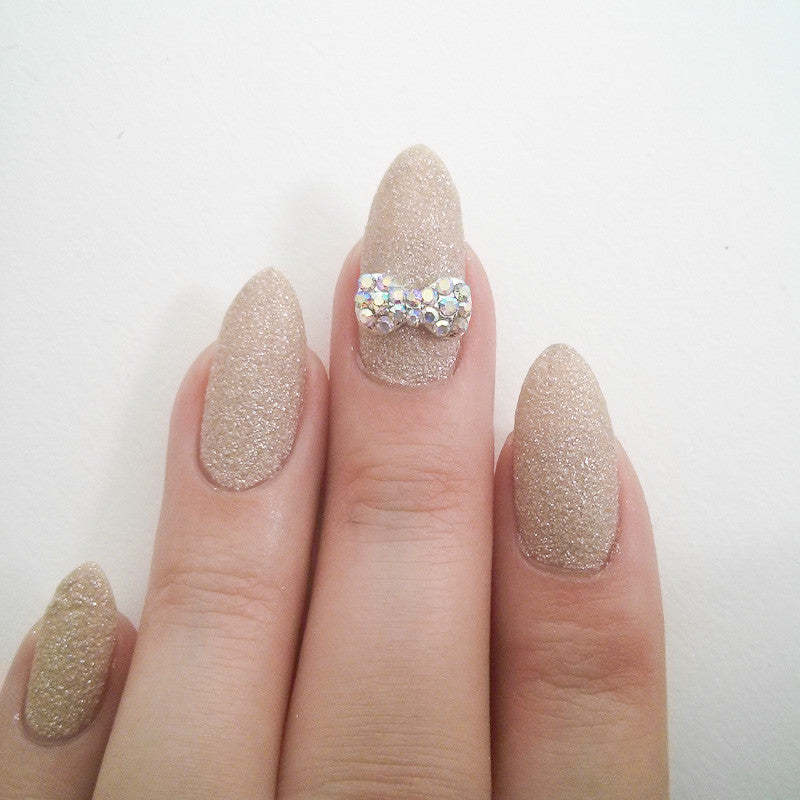 Nail Art Decoration - Dazzling Bow / AB