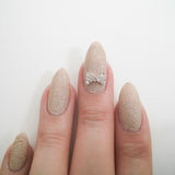 Nail Art Decoration - Simple Rhinestone Bow / Clear Crystal
